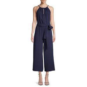 Saks Fifth Avenue Blue Sleeveless Wide Leg Linen Jumpsuit, New With Tags